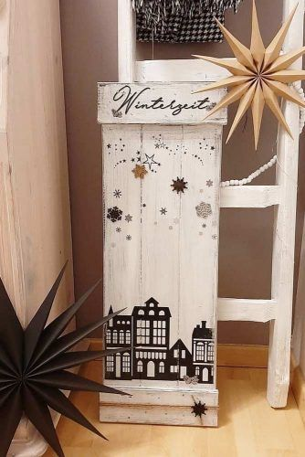 Wooden Sign With Winter Art #snowflakes