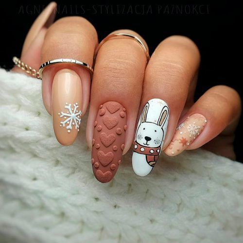 Cute Rabbit Nail Art For Winter Time #3dnailart #animalnailart
