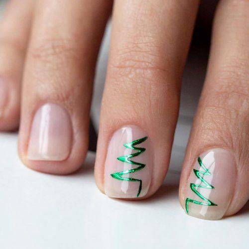 Minimalistic Christmas Nail Art #shortnails #minimalisticnailart
