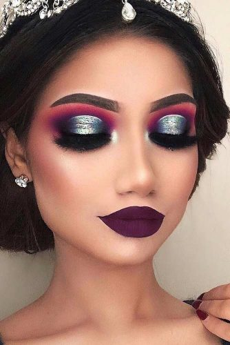 Glitter Smokey With Purple Lips Makeup #purplelipstick #glittershadow