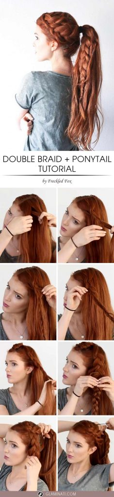 Hair Tutorial - How-To Do a Double French Braid with Ponytail