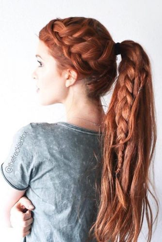 Combine A Double French Braid With A Ponytail