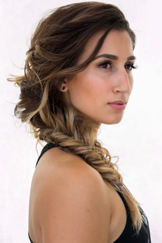Romantic Side Fishtail Braid Upstyle