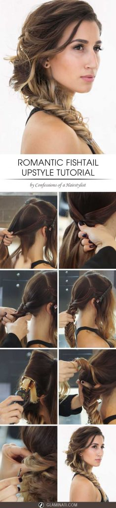 Romantic Side Fishtail Braid Upstyle
