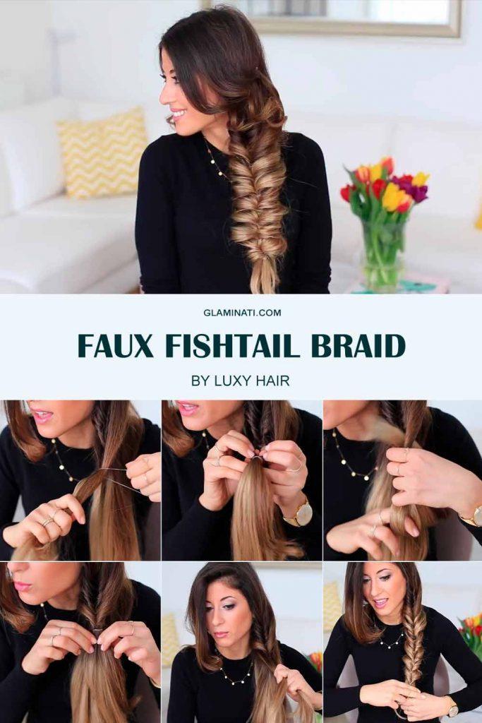 Faux Fishtail Braid #fauxfishtailbraid #hairstyles