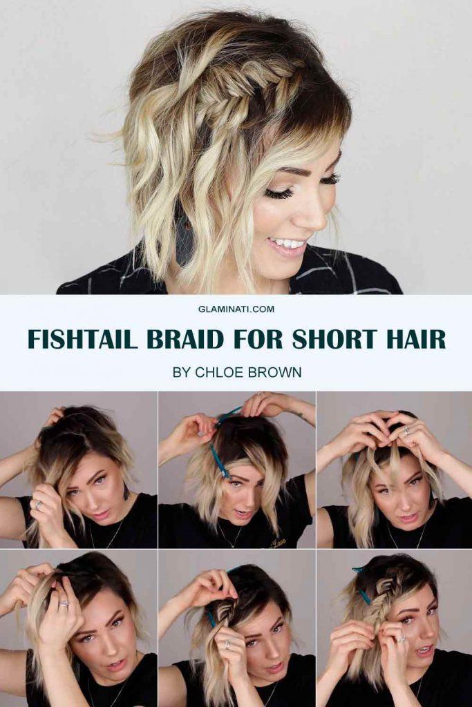 Side Fishtail Braid For Short Hair #shorthair #hairtutorial
