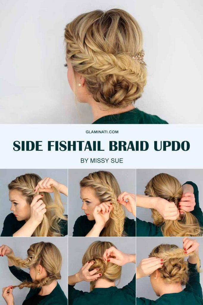 Side Fishtail Braid Updo #updohairstyle #updos