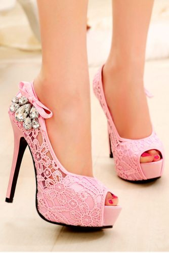 Lace Pink Pumps