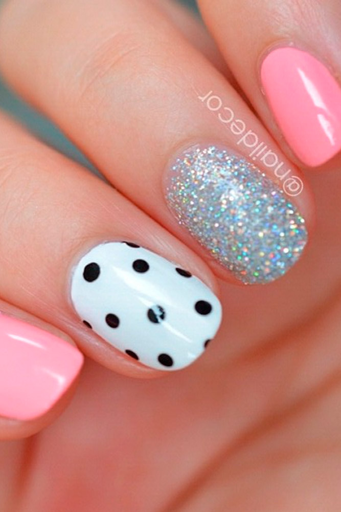 Nice Pink Manicure with Glitter Accents picture 1