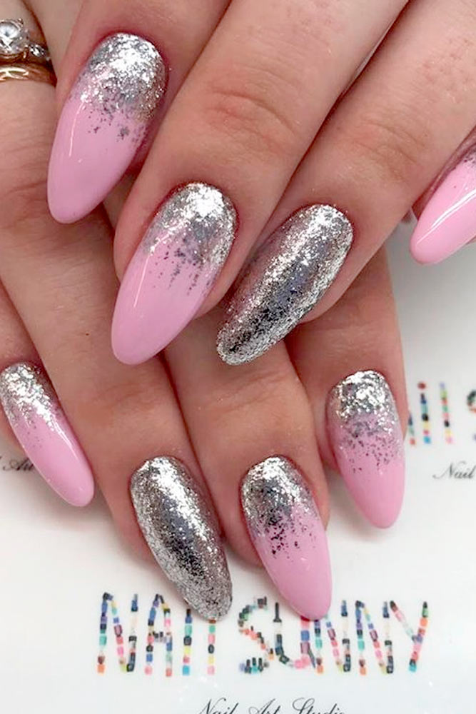 Nice Pink Manicure with Glitter Accents picture 2