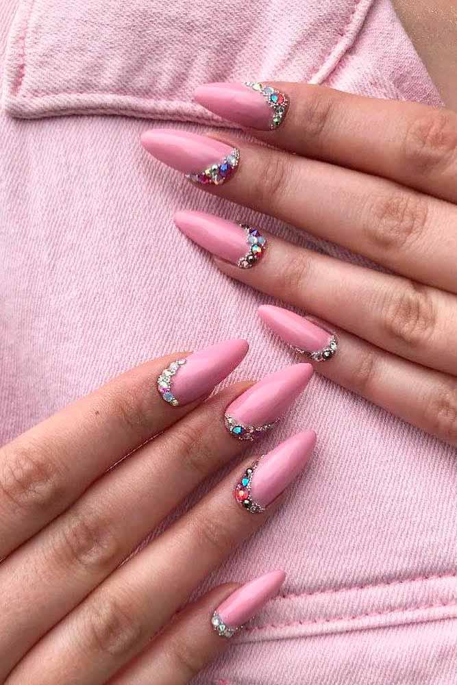 Light Pink Nails With Rhinestones #simplenails #rhinestonesnails
