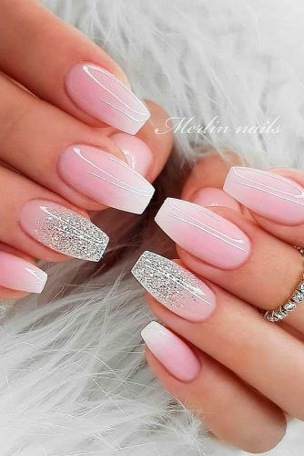 Gentle Ombre Nails #glitternails #ombrenails