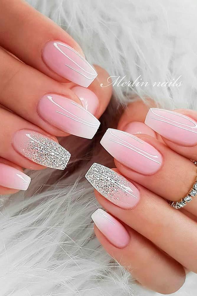 Gentle Ombre Nails #glitternails #ombrenails