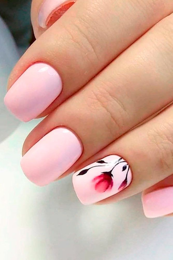 Light Pink Nail With Flowers #flowersnails #shortnails