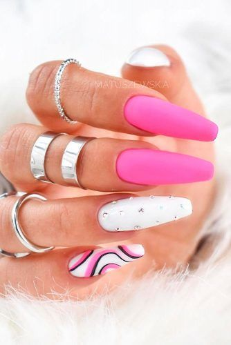 Matte Nails With Rhinestones And Bleck Accents #mettenails #accentednails
