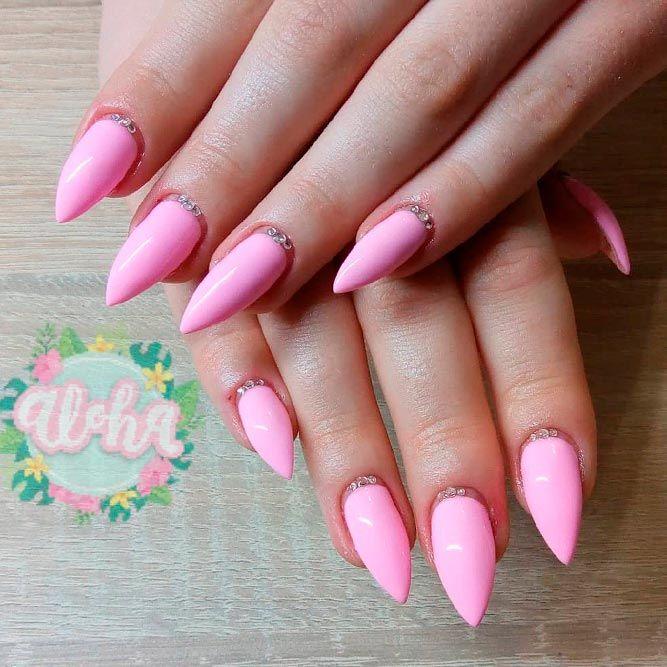Simple Pink Nails With Rhinestones #rhinestonesnails #simplenails