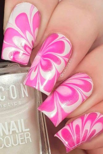 Square Water Marble Nails #watermarblenails #squarenails