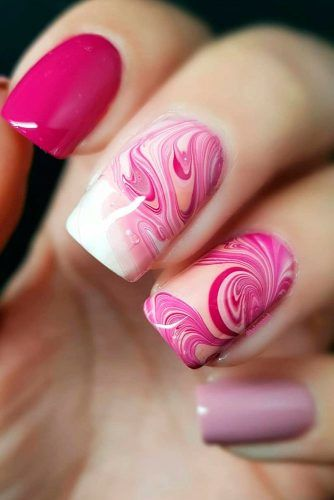 Water Marble Squoval Nails #watermarblenails ##squovalnails