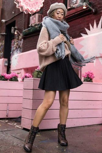 Winter Outfit With Scarf #beret #sweater