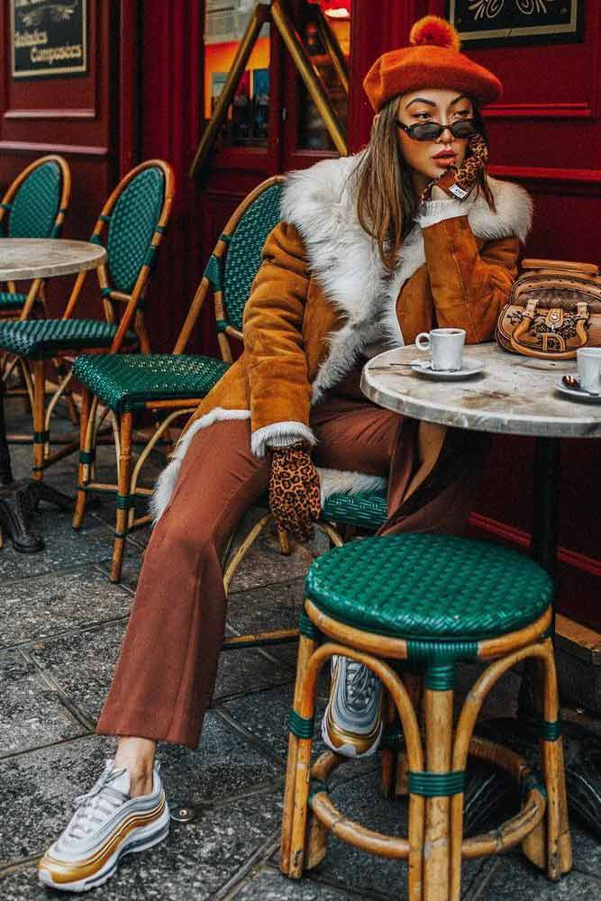 Winter Outfit With Orange Beret #redberet #warmcoat