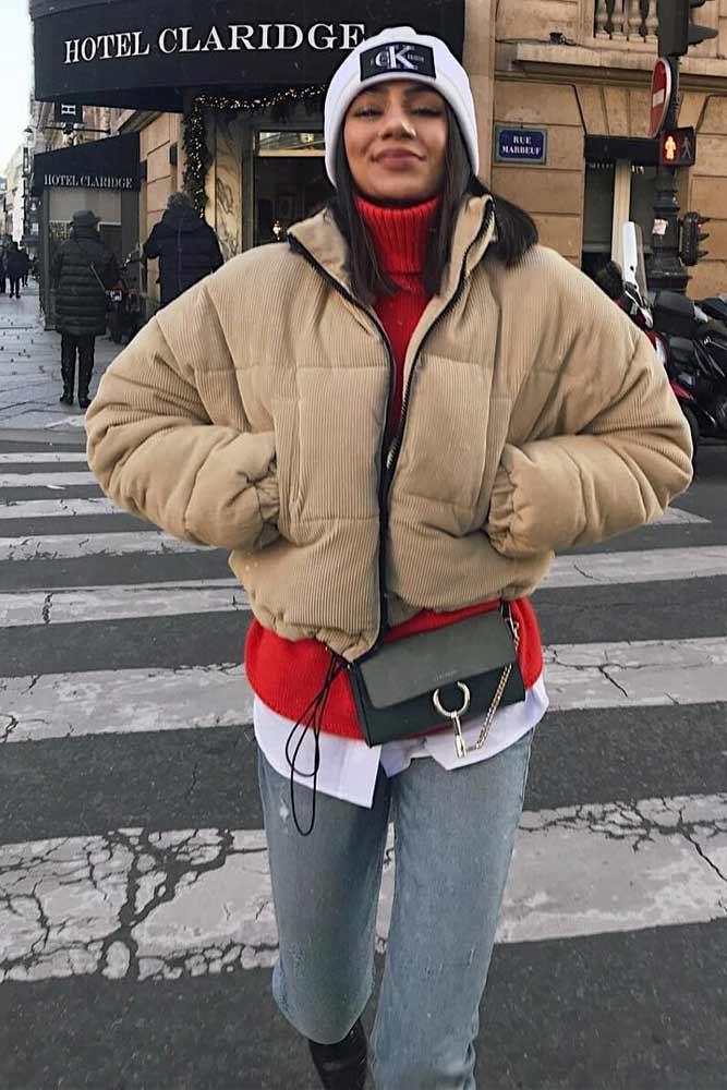 Crop Winter Jacket #hat #jeans