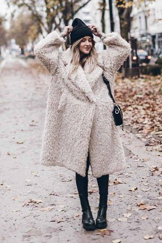 Fluffy Coat With Hat Winter Outfit #fluffycoat #hat