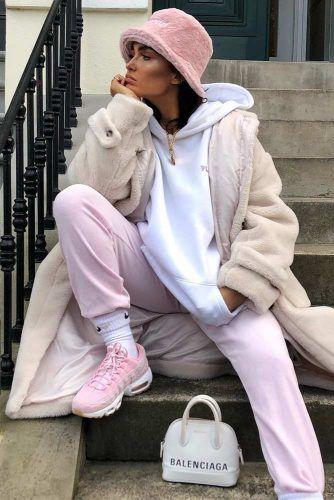 Casual Winter Outfit In Lights Colors #pinkpants #sneakers