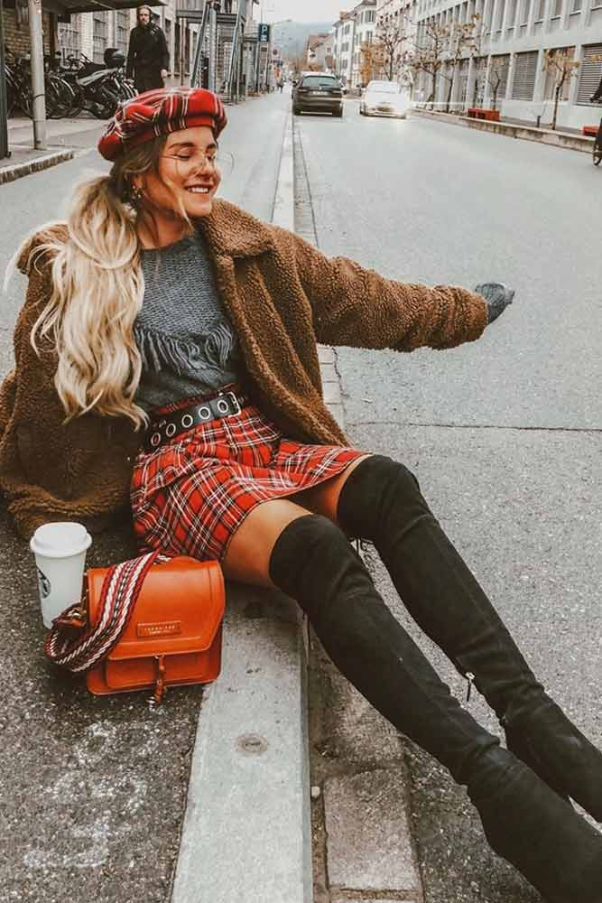 Winter Outfit With Plaid Accents #plaid #highboots