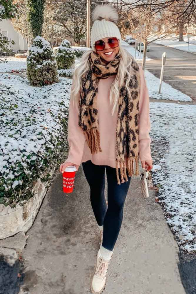 Comfy Winter Outfit With Print Scarf #scarf #hat
