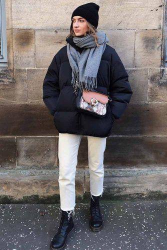 Puffy Black Jacket With White Jeans #puffyjacket