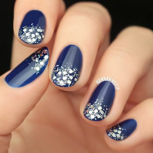 Rounded Blue Nails With Glitter #glitterombre #bluenails