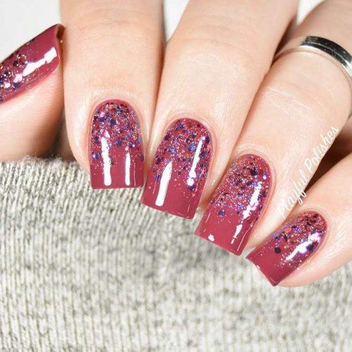 Short Square Nails With Glitter #glitternails #squarenails