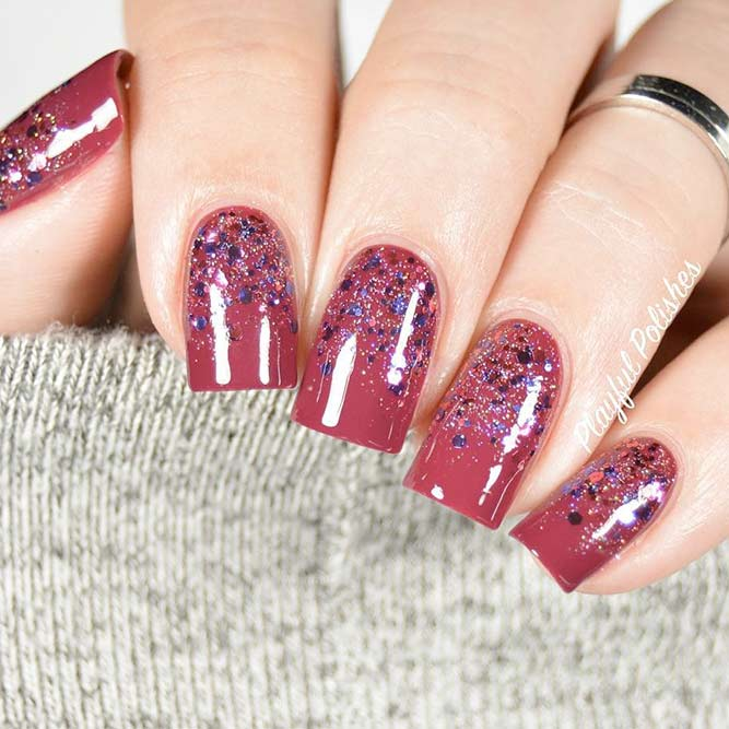 Short Square Nails With Glitter #glitternails #squarenails
