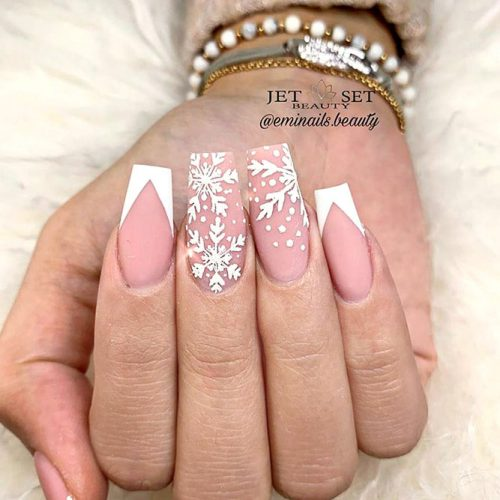 Matte Snowflakes Nail Art For Winter #frenchnails #nudenails #whitenails