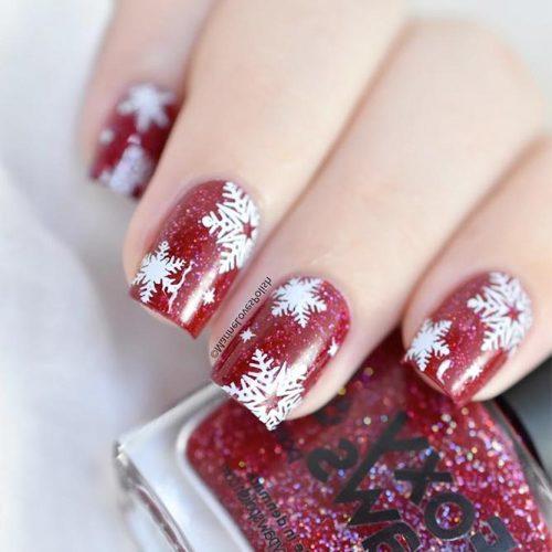 Cool Vinyl Snowflakes Nail Designs #spaklynailpolish #rednails