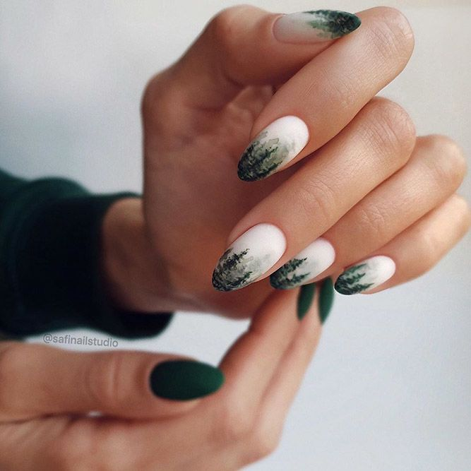 Winter Forest Nail Art #winter #nailart