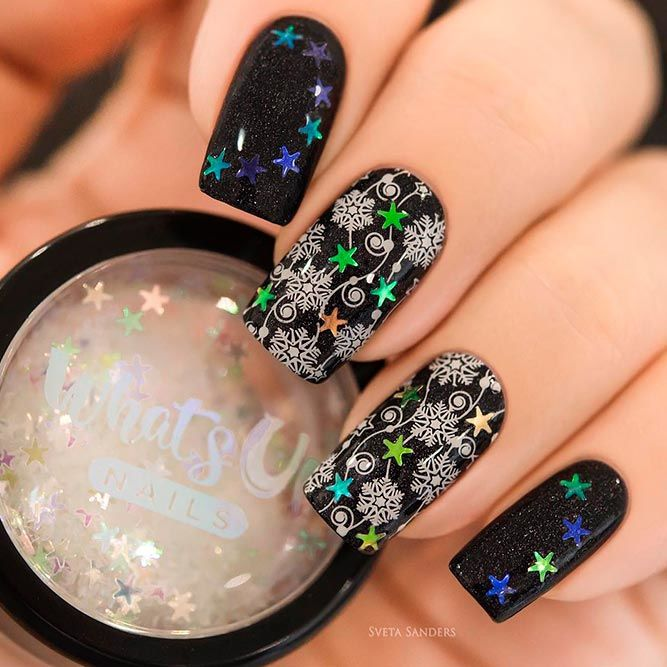 Winter Stars Nail Art #glitternails