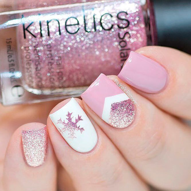 Pale Pink Nail Art For Winter #pinknails