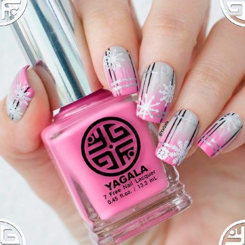 Pink Ombre Nails With Snowflakes #ombrenails