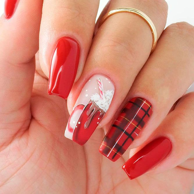 Warm Nail Design For Winter Time #rednails #plaidnails