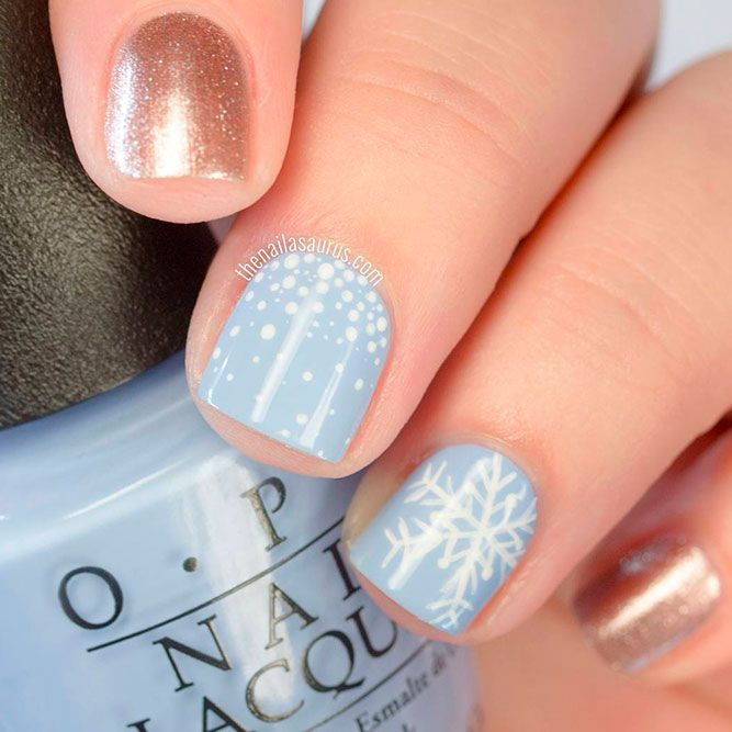 Pale Blue Nails With Snowflakes #shortnails #palenails