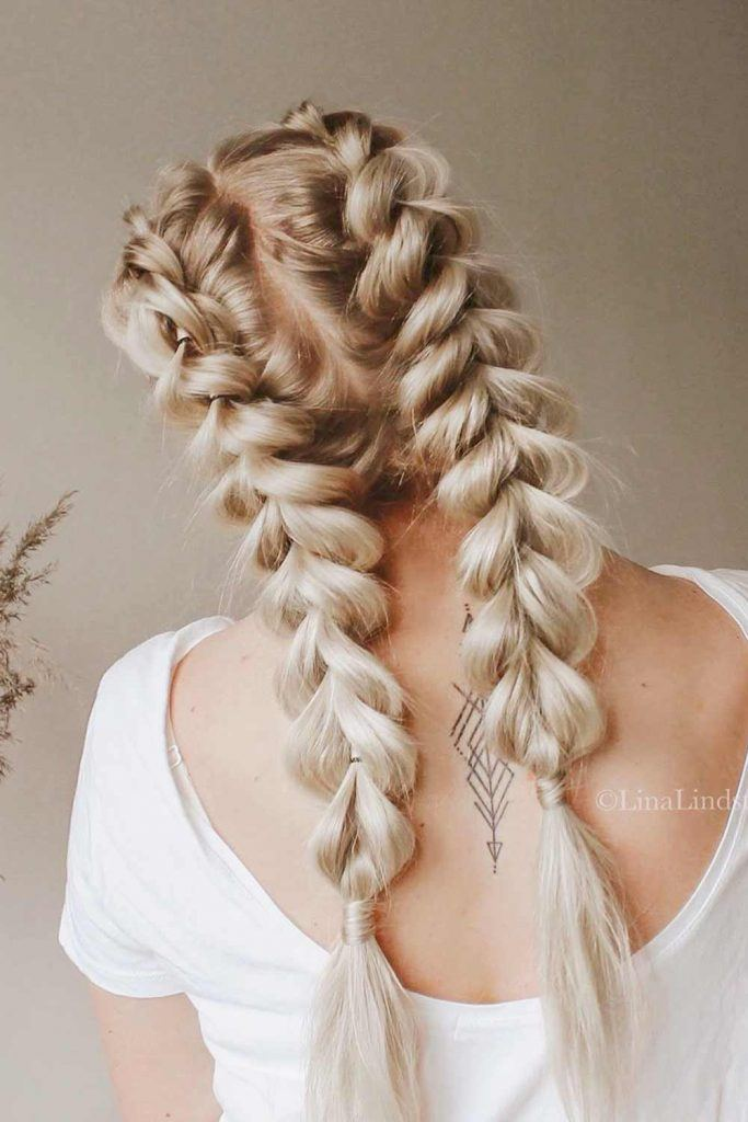Double Braids For Long Hairstyles #hairstyles #longhairstyles