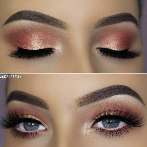 Peach Soft Smokey Eyes Makeup Idea #peachshadow #shimmershadow