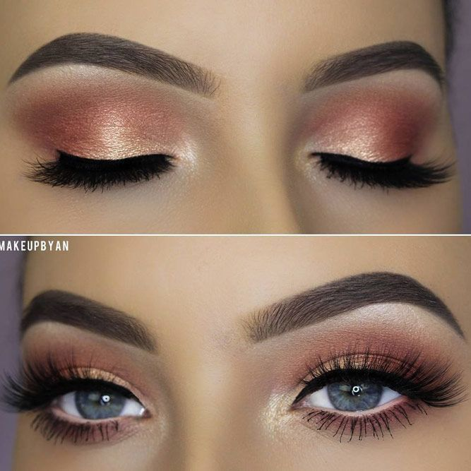 Peach Soft Smokey Eyes Makeup Idea #peachshadow #shimmershadow