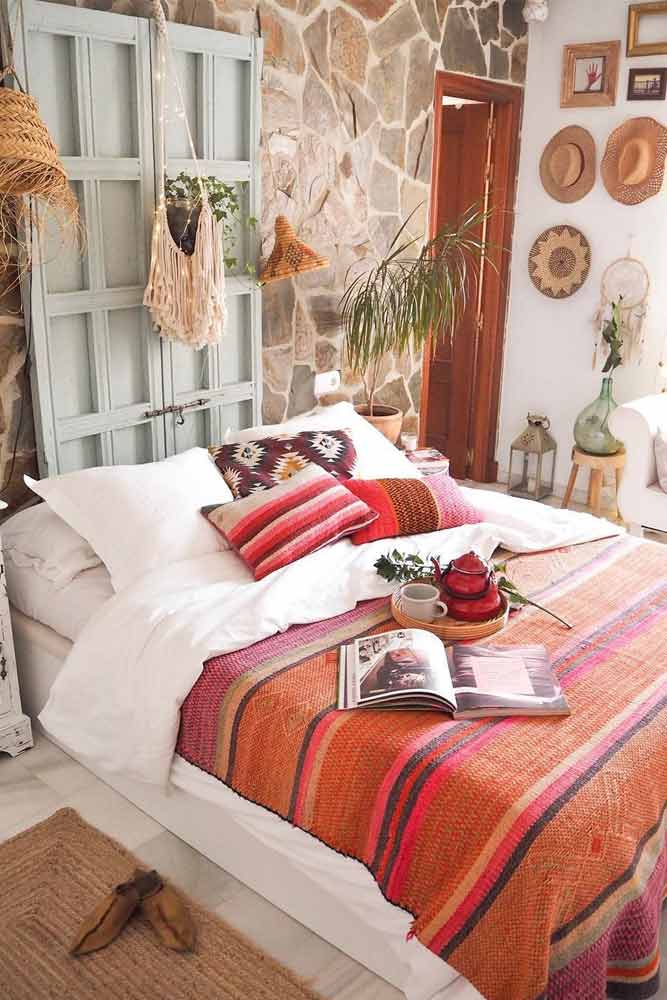 Bohemian Bedroom Idea In Bright Color #patternedpillows