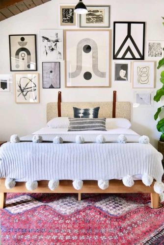 Bohemian Bedroom With Patterned Pictures #frames #pictures