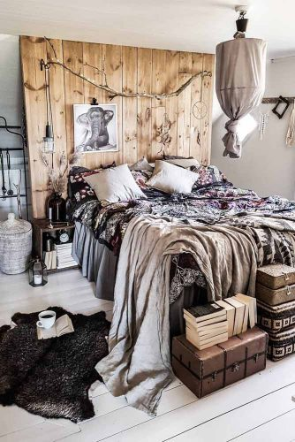 Bohemian Bedroom Design With Rustic Accents #wood #pillows