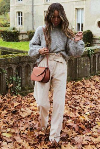 Oversized Sweater With Pants Outfit #graysweater