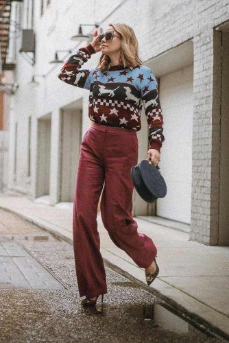 Print Sweater With Pants Outfit #printsweater