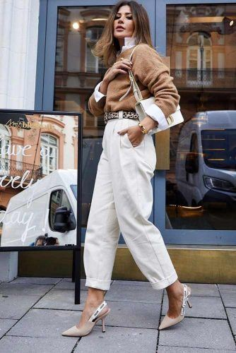 White Pants With Cozy Sweater Outfit #whiteshirt